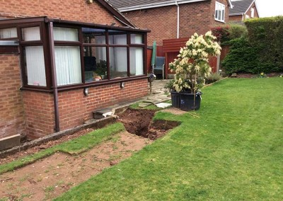 Excavation begins on the rear garden.