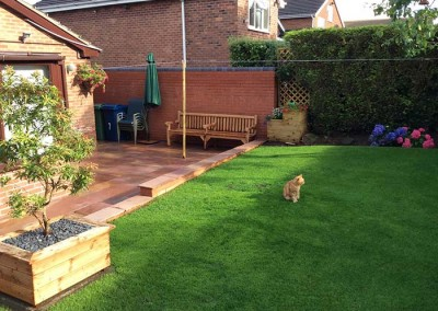 Finished patio and lawn