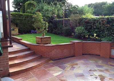 Finished steps and patio