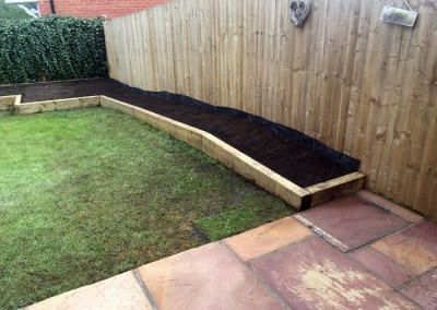Raised beds give the garden height and depth.