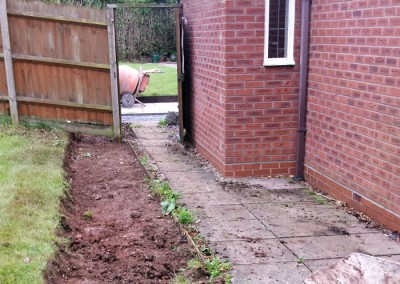 Excavation of existing garden entrance.