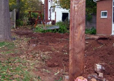 Excavation of side garden.