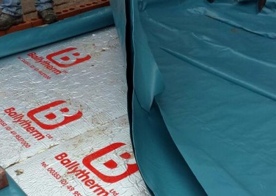 Sheeting is added to protect Ballytherm insulation sheets.