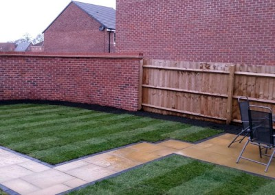 90 square meters of turf was used to finish the garden.