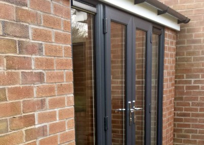 Extension is weatherproof following installation of patio doors.