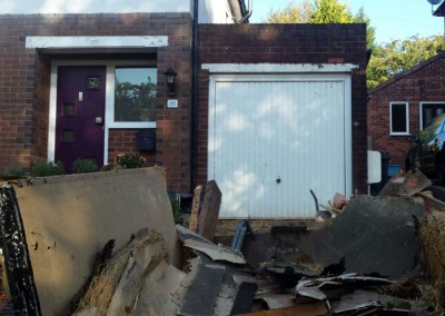 Existing garage and flat roof.